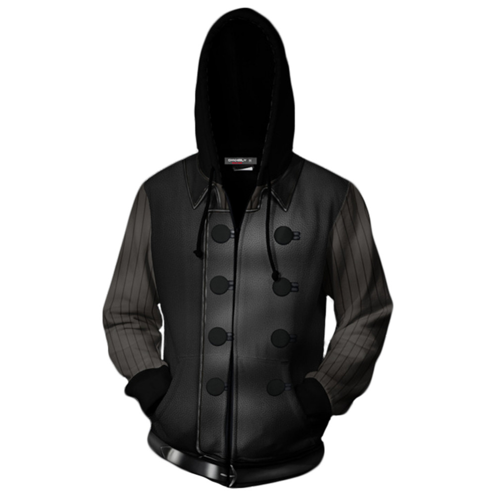 Sweat à capuche Spiderman Noir Spider-Man Noir: Into the Spider-Verse Cosplay sweat-shirts Zipper Up veste à capuche imprimée à manches longues