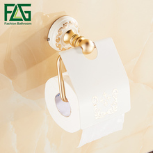 FLG Roll Holder Rack Toilet Paper Wall Mount Aluminum Gold With White Bathroom Accessories