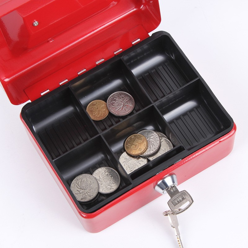 Mini Portable Security Safe Box Money Jewelry Storage Collection Box For Home School Office With Compartment Tray Lockable XS (4)