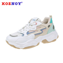 Koznoy Sneakers Women Spring Flat Bottom Dropshipping Fashion Breathable Ins Mixed Colors Sewing Lace Causal Shoes
