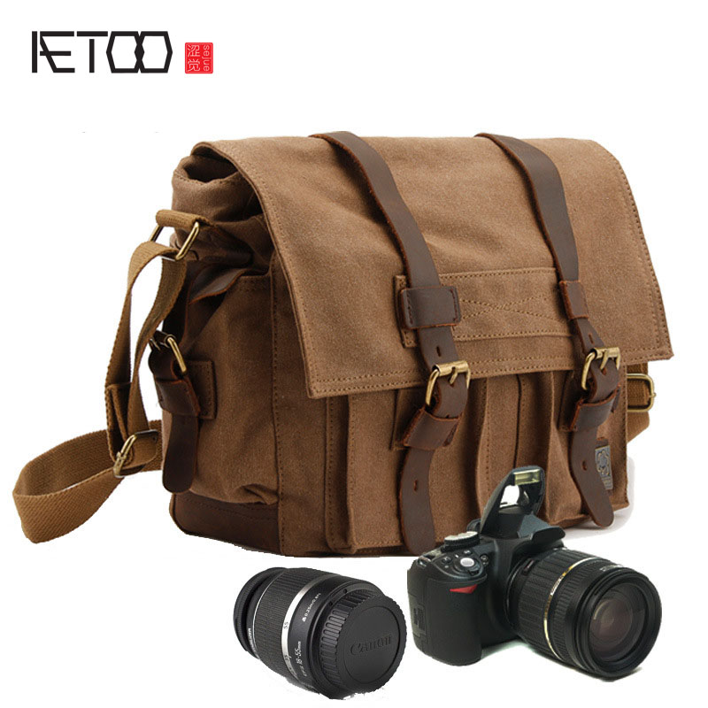 AETOO Men 's Shoulder Messenger canvas bag SLR camera digital camera bag SLR camera bag Canon elring 920 178 elring