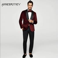 2018, винно красный мужской костюм для свадьбы, вечеринки, бархатный блейзер на заказ, сатиновая шаль, классический пиджак с лацканами, обтяги