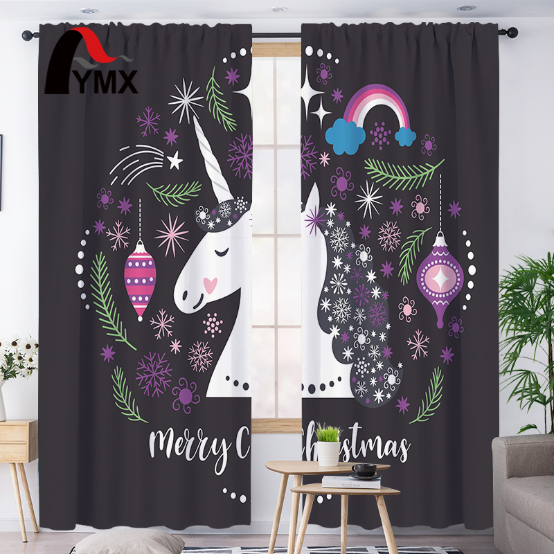 FYMX Unicorn Anime Curtains Blackout French Curtains For Children Bedroom Curtains In The Nursery Light Blocking Decoraction image