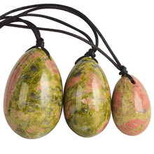 Yoni Eggs Drilled Natural Unakite Jade Egg 3pcs for Massage Vaginal Balls Pelvic Floor Exercise Crystal Sphere Health Care Stone