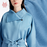 Luxury blue solid water ripple silk cashmere wool fabric for winter coat thick woolen tissu cloth telas tecidos stoffen SP4600