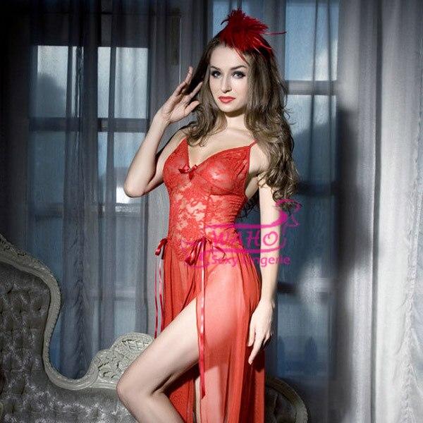 WAHO Nova Chegada Voile de Renda Transparente Sexy Robe Vermelho Nobre Sleepwear Sexy Lingerie Mulheres Babydoll Vestido Frete Grátis