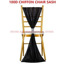 100PCS Outdoor Party Wedding Chair Hood Chiffon Ruffled Chair Sash For Chiavari Chair Decoration White Purple Pink Chair Ties(China)