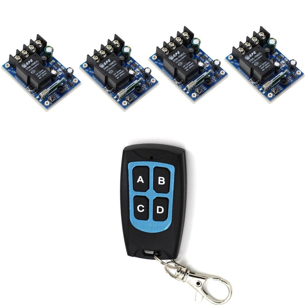 Latest DC 12V 24V 36V 48V 30A 1 CH RF Wireless Remote Control 4 * Receivers & 1 * Waterproof Transmitter Self-lock Mode