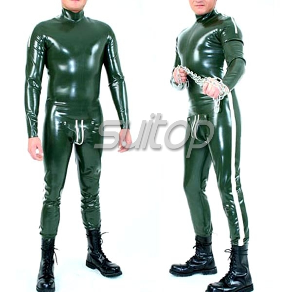 Buy Suitop Macho man latex bodysuit catsuit sexy rubber latex codepiece