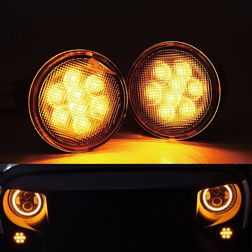 Smoke Lens Front Grille Amber Turn Signal Marker LED Light For Jeep Wrangler JK 07-16 (Black) 1pair led side maker lights for jeeep wrangler amber front fender flares parking turn lamp bulb indicator lens