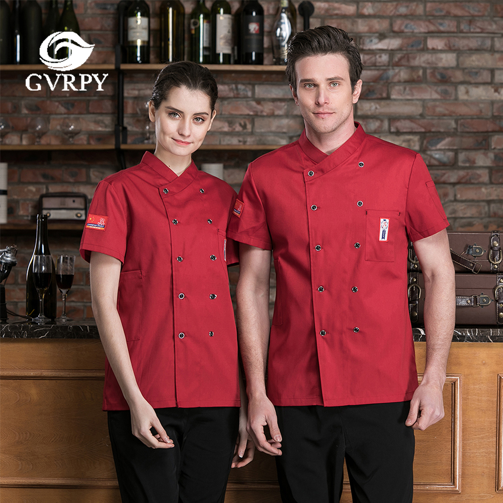 Breathable Double-breasted Short-sleeved Chef Cooking Overalls Summer Catering Service Hotel Waiter Barbershop Clothing Tops