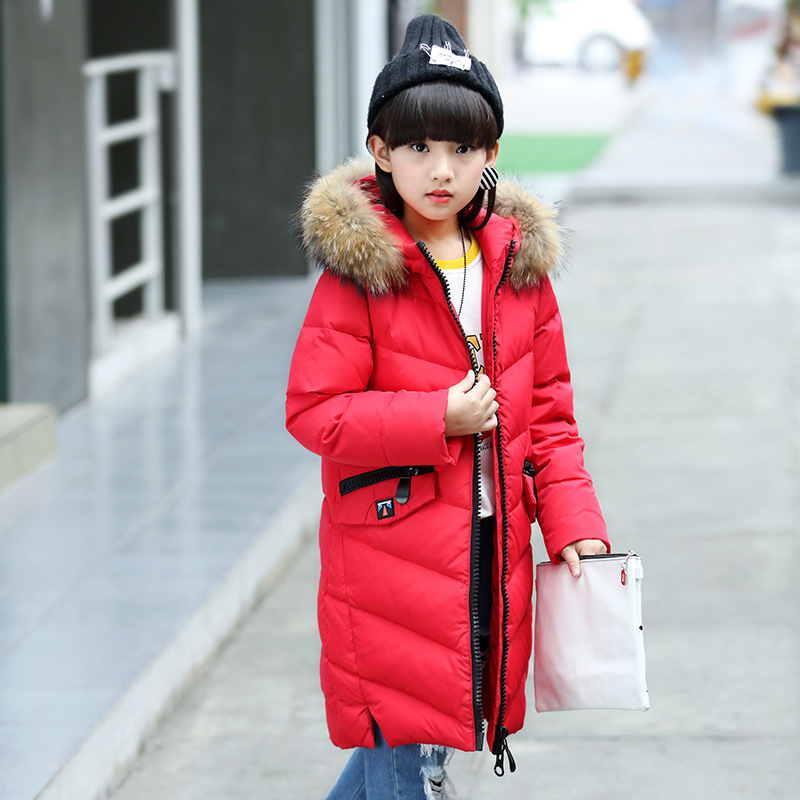 2017 Winter Russia Children Long Section Duck Down & Parkas Girls Down Jackets & Coats baby Winter Fur Collar Outwear -30 Degree fashion 2017 girl s down jackets winter russia baby coats thick duck warm jacket for girls boys children outerwears 30 degree