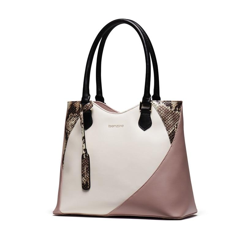 teemzone 2016 Designer Classic wild Leather Shoulder Portable Big Bag Women Bag font b Handbag b