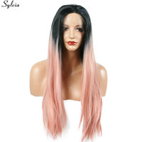 Sylvia Silky Straight Natural Long Lace Front Wig Synthetic Pastel Pink Ombre 1B Black Root Heat
