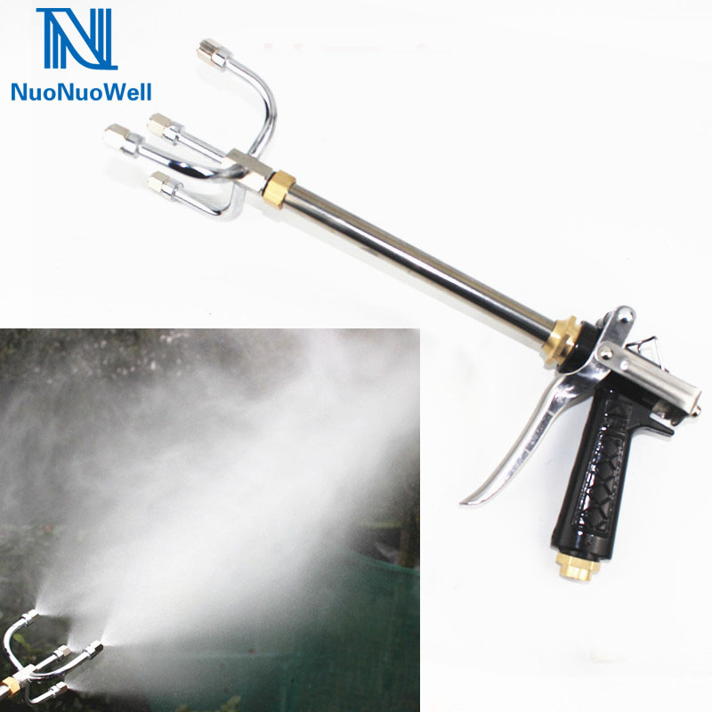 NuoNuoWell Agricultural High Pressure Pump Sprayer Ultra Fine Fog Nozzle Import Quality Stainless Steel 4 Ways Outlet