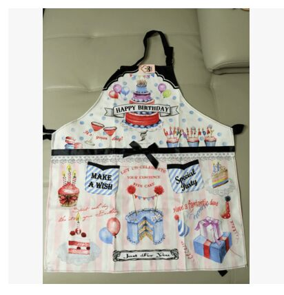 Blue Adult Kitchen Apron Woman Happy Birthday Cakes Printed Avental Tablier Cuisine Pinafore