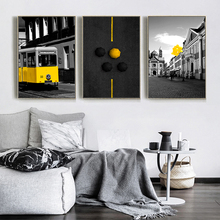 Black Tone Street Yellow Bus Umbrella Balloon Design Posters Canvas Painting Cafe Home Decor On Canvas Chic Wall Prints Artworks цена