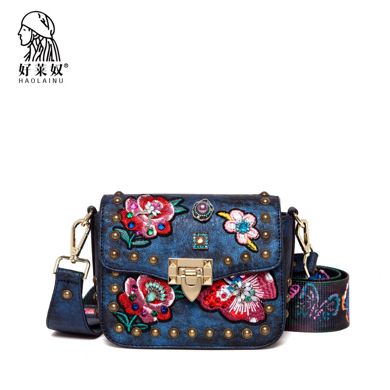 все цены на Haolainu Fashion Ladies Messenger Bags Leather Shoulder Bags Embroidery Floral Women Crossbody Bag for Girl Brand Women Handbags
