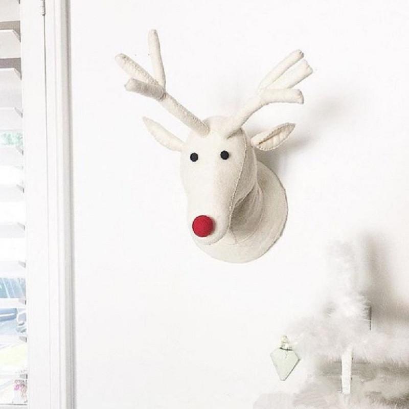 Animals Deer Head Wall Mount Stuffed Plush Toys Bedroom Decoration Felt Artwork Wall Dolls Photo Props Nordic Style Decor new arrival handmade lovely cartoon animals plush dolls stuffed cushion pillow toys gifts nordic kids room bed decor photo props
