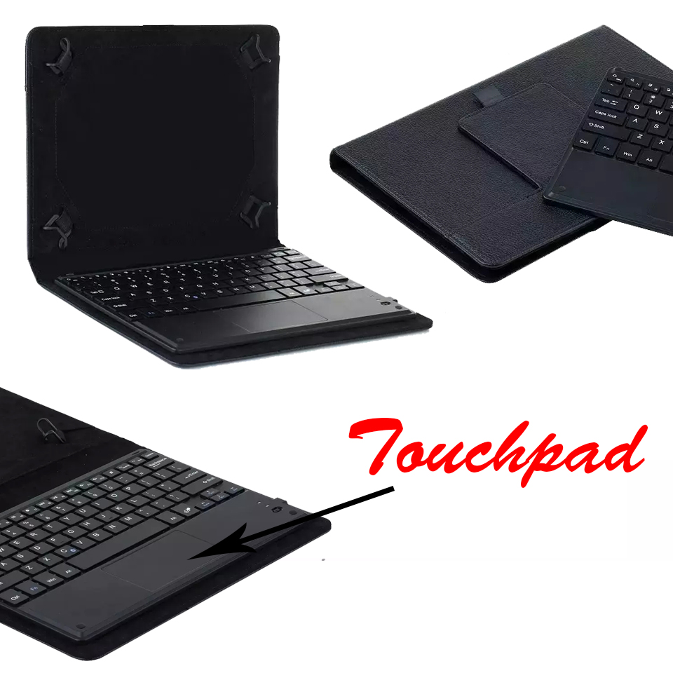Universal Dechatable Bluetooth Keyboard w/ Touchpad & PU Leather Case Cover For Lenovo Tab 2 A7-10 A7-10F 7 Tablet ios windows android universal bluetooth keyboard abs leather case for 7 8 9 9 7 10 1 tablet pc case support russia keyboard