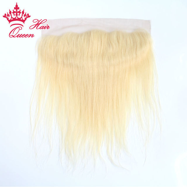 Queen Hair Products 100% Virgin Human hair #613  Color Lace front closure bleached knots 13x4inch Straight