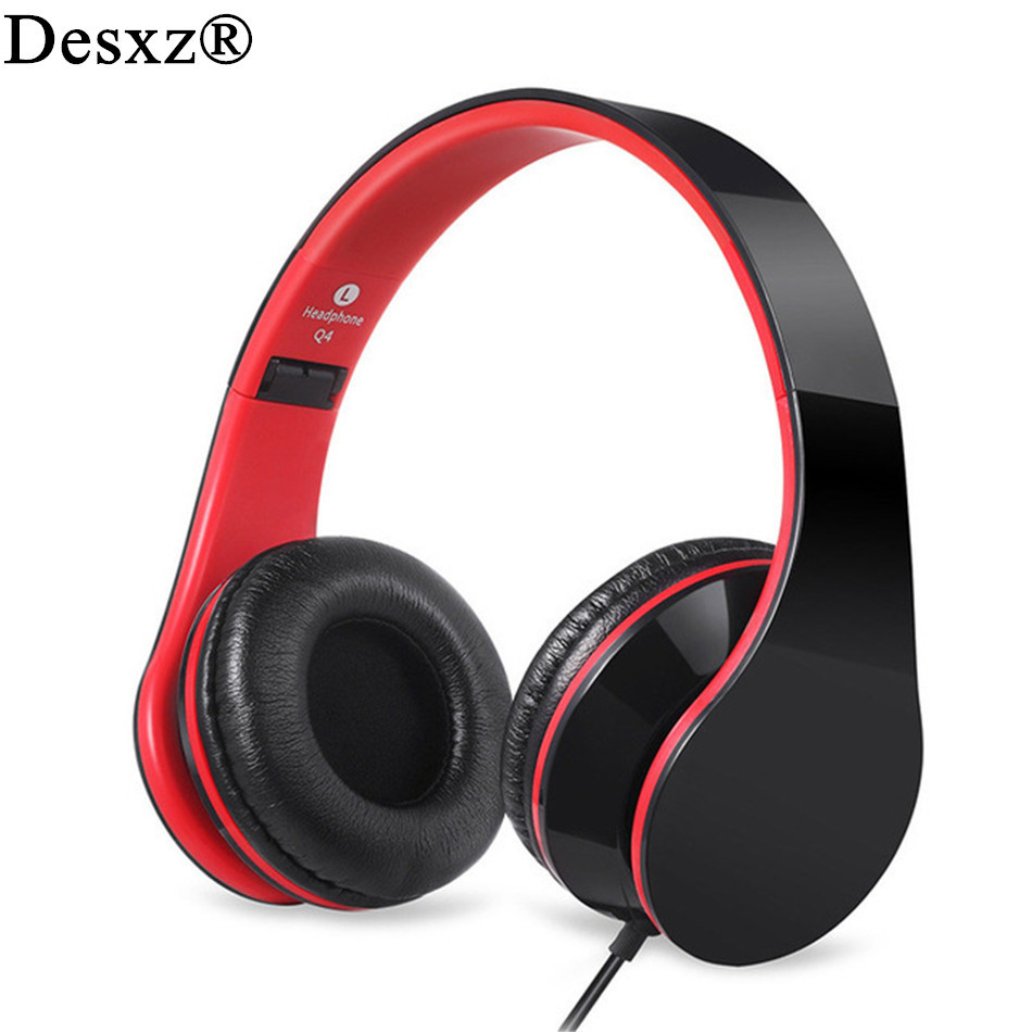 Desxz Over Ear Kids Headphones for Kids Boys Adult with mic In-line Volume Foldable Headsets with 3.5mm plug fone de ouvido merrisport wireless bluetooth foldable over ear headphones headsets with mic for for cellphones ipad iphone laptop rose gold