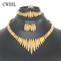 CWEEL Fashion Jewelry Sets Women Turkish Jewelry Bohemian Nigeria African Wedding Jewellery Sets Gold Color Indian