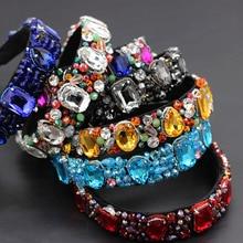Luxury heavy color rhinestone crystal wild headband  Baroque Heavy Industry Luxury Geometric Color Rhinestone Headband 874