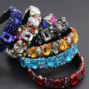 Image 1 - Luxury heavy color rhinestone crystal wild headband  Baroque Heavy Industry Luxury Geometric Color Rhinestone Headband 874