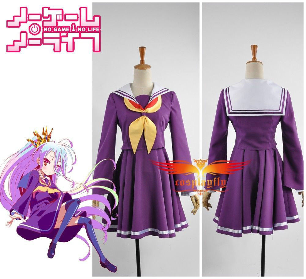 No Game No Life Shiro Skirt Cosplay Costume Custom Any Size Two Pieces Girl Dress Suit Summer Dress with Gift Purple Stockings