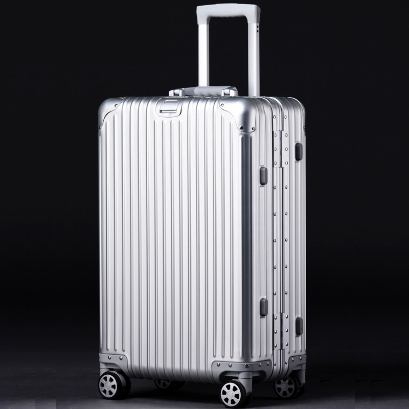 20'24'26'29' Full Aluminum Rolling Luggage Spinner Travel Suitcase original luggage Women Boarding Box Carry On Bag Trolley vintage suitcase 20 26 pu leather travel suitcase scratch resistant rolling luggage bags suitcase with tsa lock