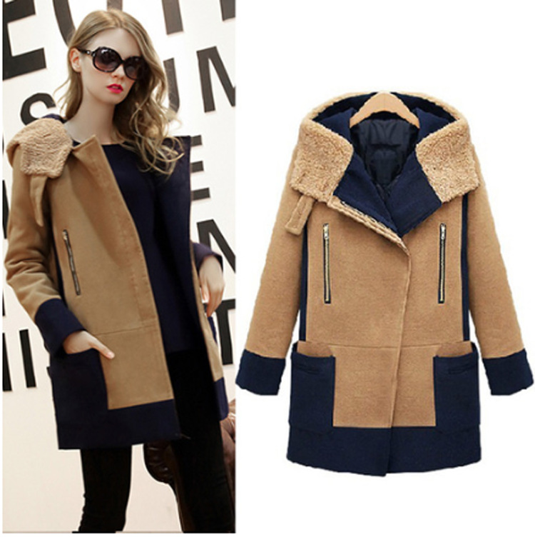 ФОТО 2016 Autumn and Winter New Long-sleeved Coat Large Size Women's Thickening Stitching Hooded Wool Coat AXD1833