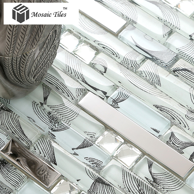 Wholesale Glass Mosaic Tile White Clear Glass Black Pattern