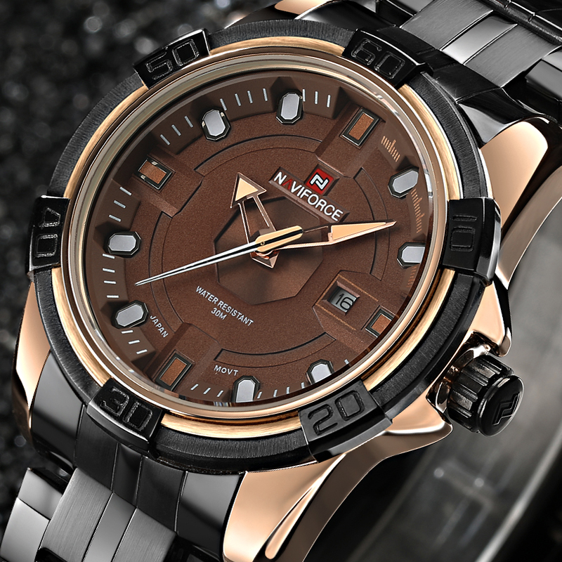Luxury Brand NAVIFORCE Full Steel Analog Display Date Men s Quartz Waterproof Watches Men Army Military