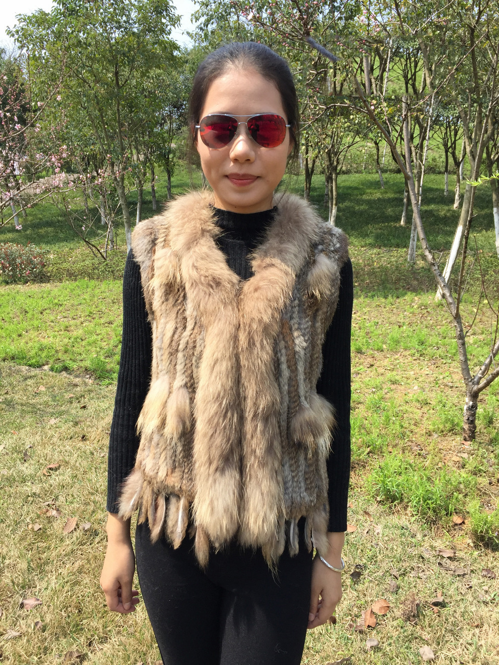Echt Kaninchen Pelz Weste Gilets Crochet Pelz Strickjacke Westen Plus Größe Weiß Natur Braun Sleeveless Waschbär Kragen Fransen Plus Größe