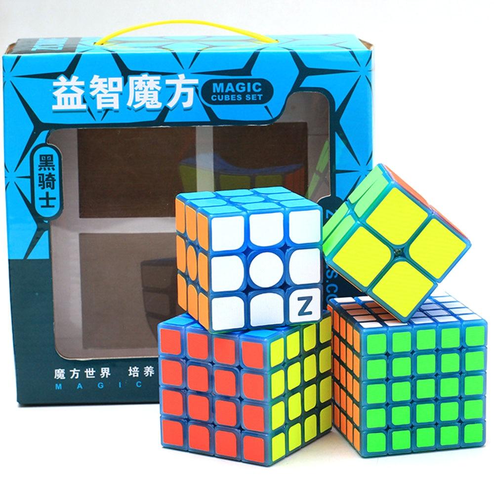 4 pièces Zcube série chevalier noir Cube magique lumineux ensemble Puzzle Cubes de vitesse jouets éducatifs cadeau pour enfants enfants