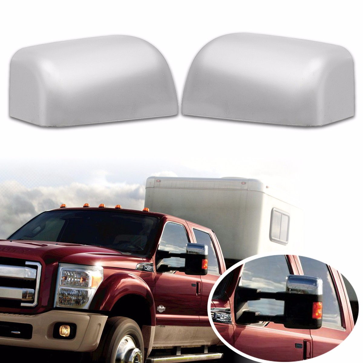 For 99-07 Ford Super Duty F250 F350 Triple Chrome FULL Mirrors Covers Pair