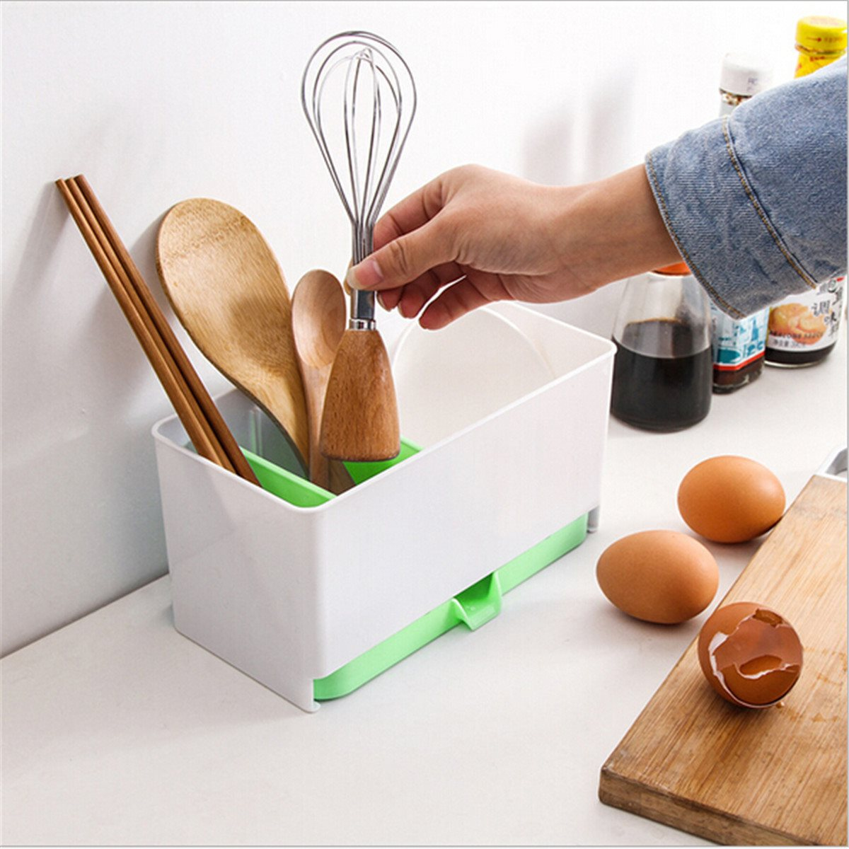 Utensils Holder Rack Caddy Sponge Basket Wash Dry Shelf Cutlery ...
