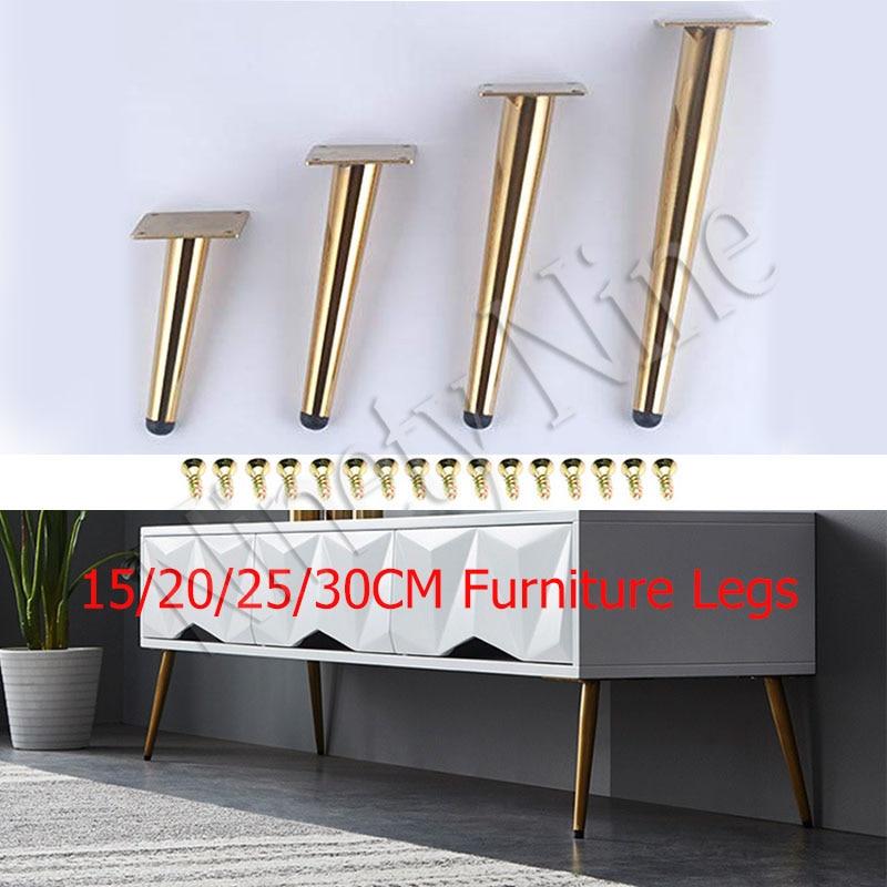 4Pcs Furniture Legs, Gold Sofa Leg Stainless Steel Table Legs Hardware Cabinet Feet
