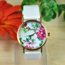 Relogio Masculino Girls Watches Trend Girls Leather-based Rose Flower Watch Quartz Watches Woman Costume Wrist Watches Feminine Clock