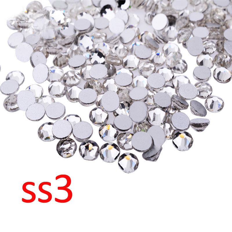 Nail Art Rhinestones,1440pcs/lot SS3 Crystal Clear Top Quality Flatback Non Hotfix Nail Jewelry Accessories,Nail Decoration Tool super shiny 5000p ss16 4mm crystal clear ab non hotfix rhinestones for 3d nail art decoration flatback rhinestones diy