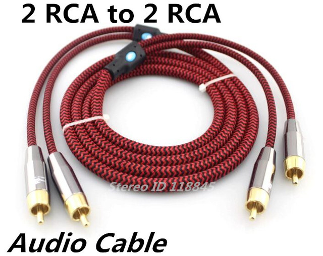 1m 2m 3m 5m 2 RCA to 2 RCA Male Phono Shielded Stereo Audio Cable ...
