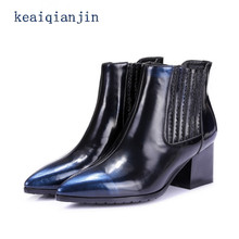 New fashion women shoes 2017 real leather pointed toe slip on Casual shoes women high heeled ankle boots blue winter boots 34-39