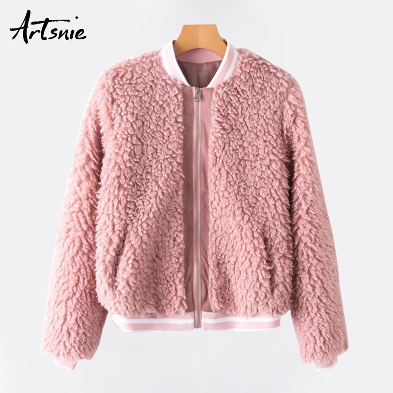 Femme Neck Casual O Girls Slim Zipper Bomber Streetwear Thick Fur Artsnie Jackets Coats Autumn Warm Pink Faux Women 2018 Zq4Uf