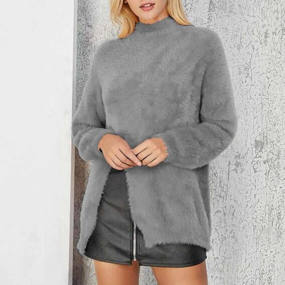 2018 חורף נשים סוודר מוצק בתוספת גודל קטיפה חם חולצה למעלה גבוהה צווארון גבירותיי סוודר טוניקת חולצה נקבה ארוך סוודר