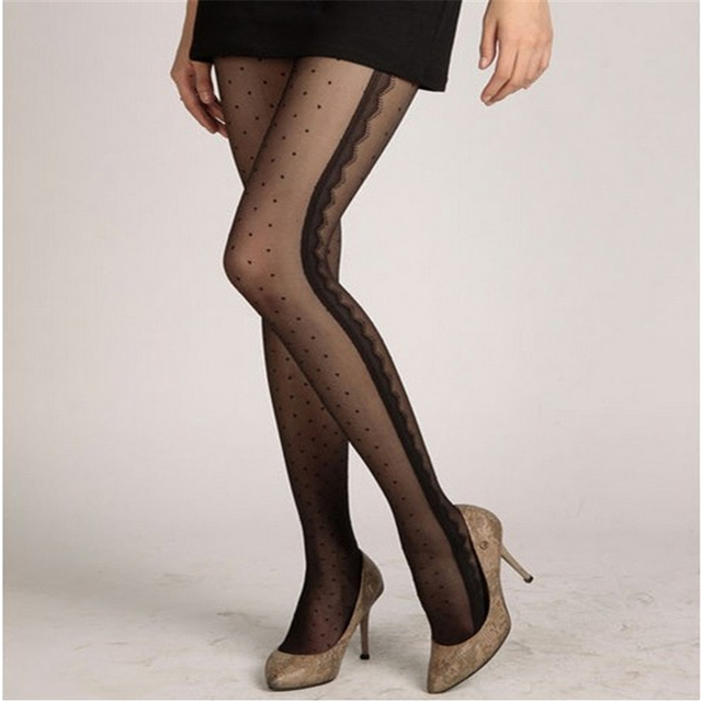Jeseca Hot Women Sexy Tights Heart Leopard Dots Lace Fishnet Pantyhose Female Ladies Hosiery Legs High Silk Tight Stockings Gift 2