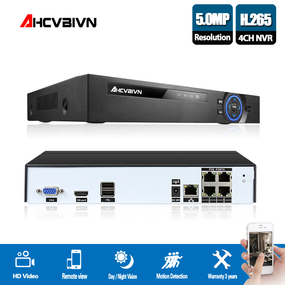 AHCVBIVN 4 Channel CCTV System 4CH NVR POE H.265 Play and Plug video Security Remote view surveillance Onvif P2P support4/5MPAHCVBIVN 4 Channel CCTV System 4CH NVR POE H.265 Play and Plug video Security Remote view surveillance Onvif P2P support4/5MP