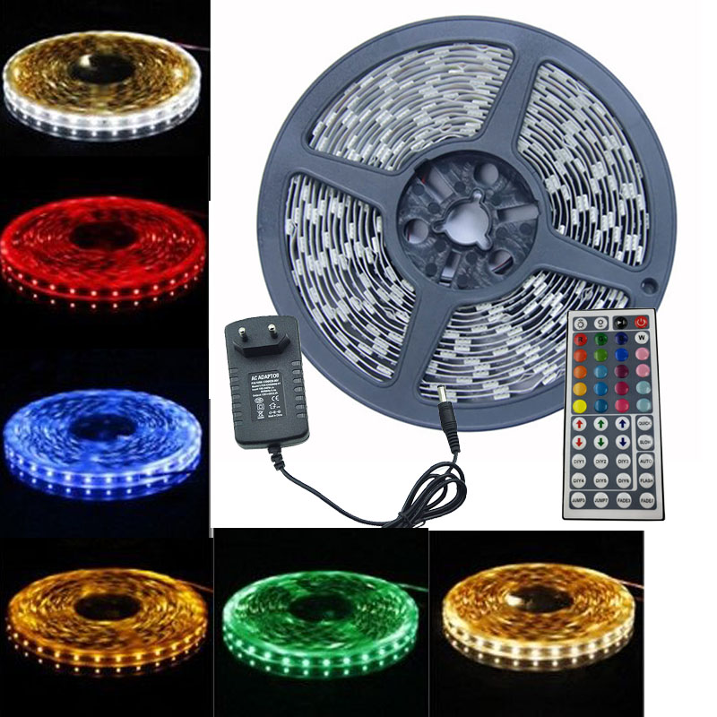 zk40 RGB LED Strip Led Light SMD 5050 5m 60Leds m Led Tape Lampe Waterproof RGB Diode Ribbon 44Key Controller DC 12V Set in LED Strips from Lights Lighting