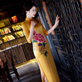 Vestidos das senhoras plus size bordado cheongsam estilo chinês tradicional qipao vestido longo para as mulheres do vintage moderno formal amarelo