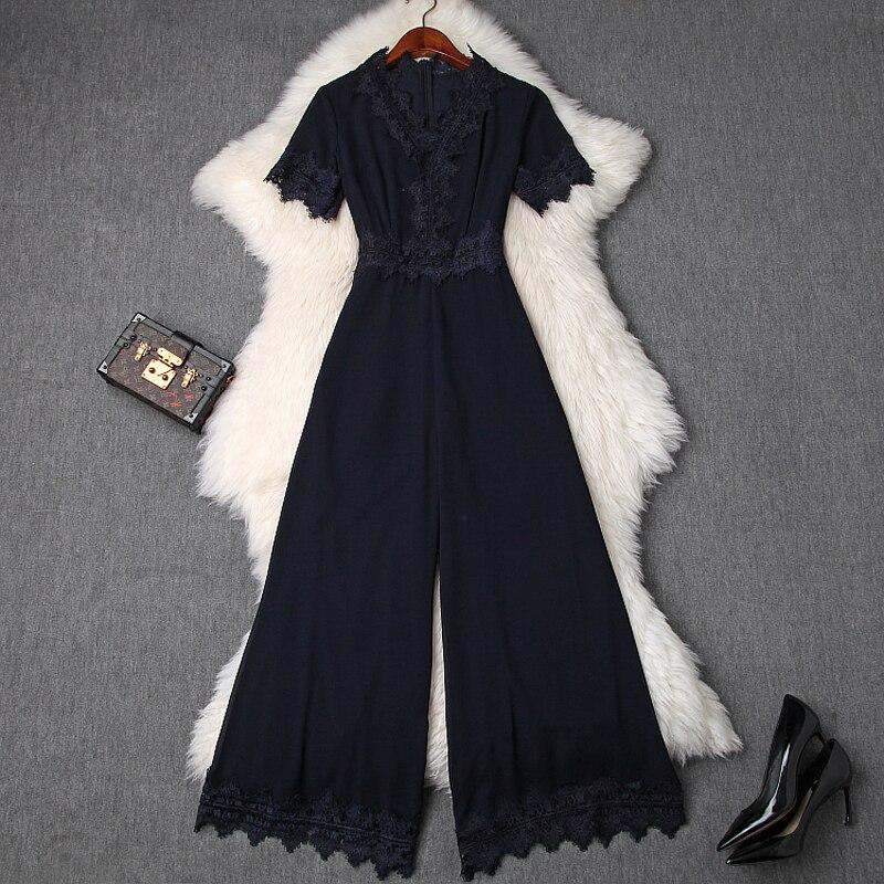 Elegant Slim แขนสั้น Jumpsuits 2019 ฤดูใบไม้ผลิฤดูร้อนใหม่ขากว้างกางเกง body femme casual office เลดี้ลูกไม้ผู้หญิง Party jumpsuit-ใน จั๊มพ์สูท จาก เสื้อผ้าสตรี บน AliExpress - 11.11_สิบเอ็ด สิบเอ็ดวันคนโสด 1